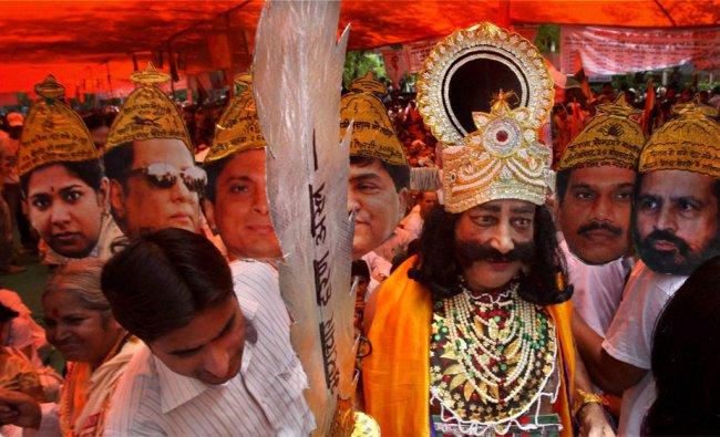 A protestor dressed up as Ravan at a daylong fast called by Baba Ramdev at the Jantar Mantar