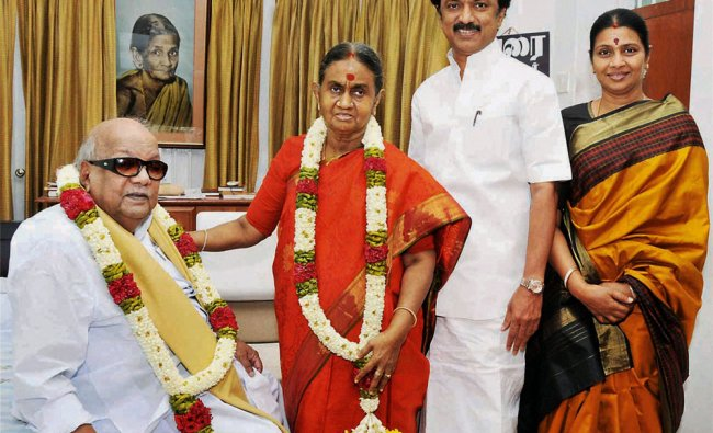 DMK chief M Karunanidhi with wife Dayalu Ammal, son MK Stalin and daughter-in-law Durga