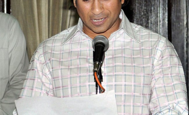 Cricketer Sachin Tendulkar taking oath as Rajya Sabha member at Parliament House