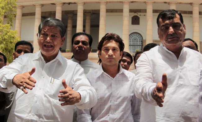 Cricketer Sachin Tendulkar after taking oath as Rajya Sabha member at Parliament House