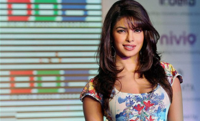 Bollywood actress Priyanka Chopra speaks at the launch of Digital Direct Broadcast (DDB) technology
