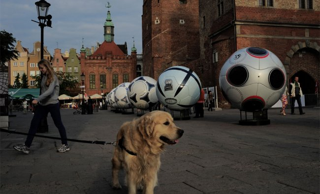 Giant balls announcing the Euro 2012 soccer championship on oan old street, in Gdansk, Poland