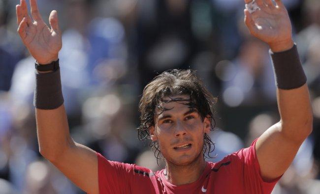 Rafael Nadal of Spain celebrates winning his semi final match