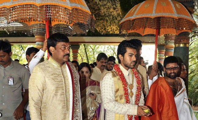 Actor-turned-politician Chiranjeevi at the wedding ceremony of his son actor Ram Charan Teja...