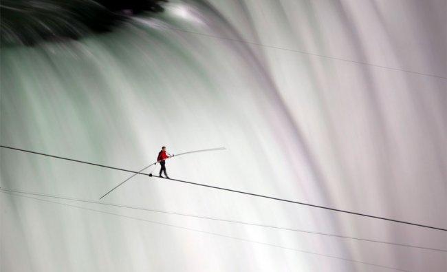 Nik Wallenda walks over Niagara Falls on a tightrope in Niagara Falls, Ontario