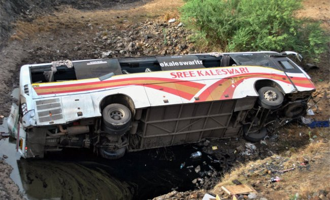 The ill-fated private passenger bus thet fell off a river bridge near Osmanabad town