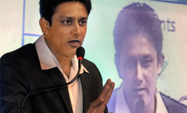 Anil Kumble delivers his speech during the largest education fair \'Eduquest\' in Kolkata
