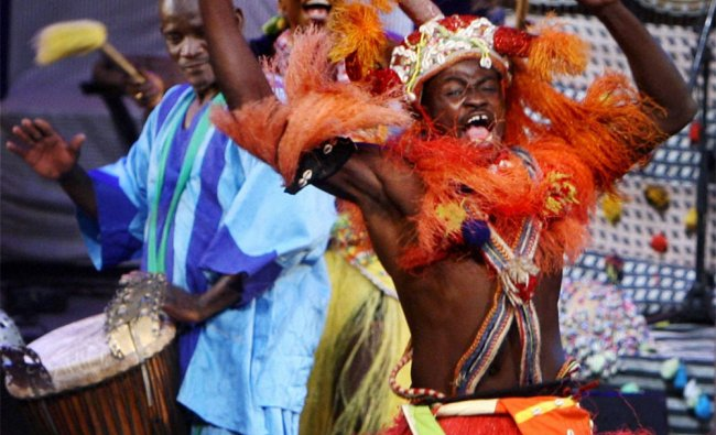 Artists from African continent perform during the Africa festival in New Delhi