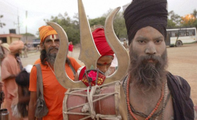 Sadhus before their departure for the annual pilgrimage to the Amarnath cave shrine at a camp
