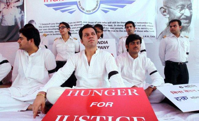 Striking Air India pilots during their hunger strike at Jantar Mantar in New Delhi