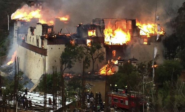 Fire destroys the 17th century Wangduephodrang Dzong in Bhutan...