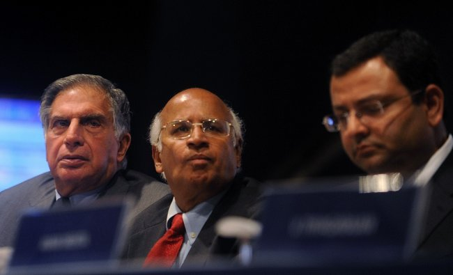 Ratan Tata and Cyrus Mistry attend the annual general meeting of Tata Consultancy Services