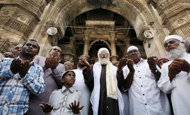 Muslims offer prayers for rains at Jamma Masjid in Ahmedabad...