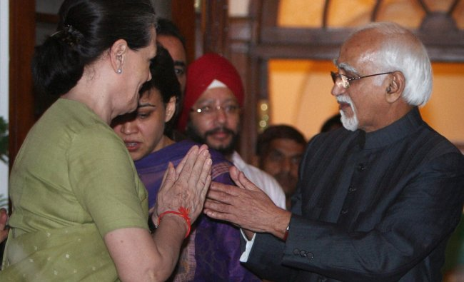 Sonia Gandhi greets Mohammad Hamid Ansari after he was re-elected as Vice President of India...