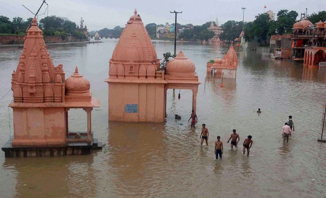Temples seen submerged in flooded Kshipra River in Ujjain...