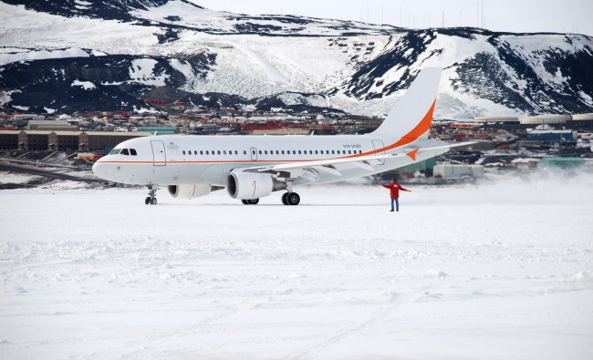 In this undated photo provided by the Australian Antarctic Division, their Airbus A319 taxis on...