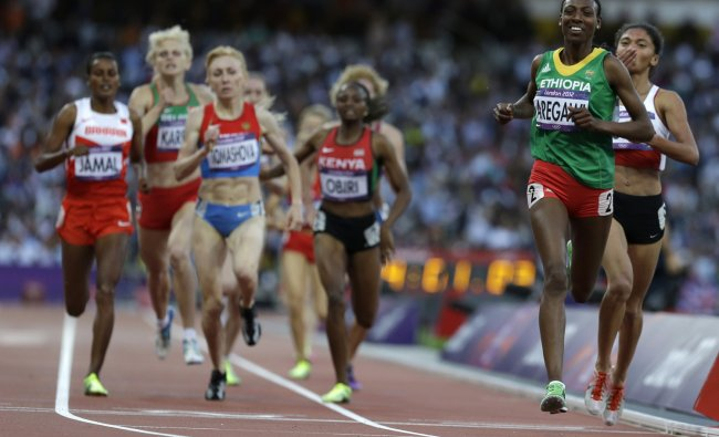 Ethiopia\'s Abeba Aregawi crosses the finish line to win her women\'s 1500-meter semifinal during...