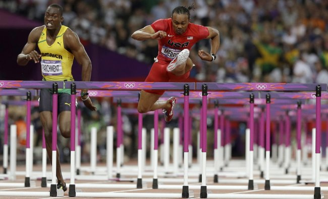 United States\' Aries Merritt wins the men\'s 110-meters hurdles final during the athletics in the...