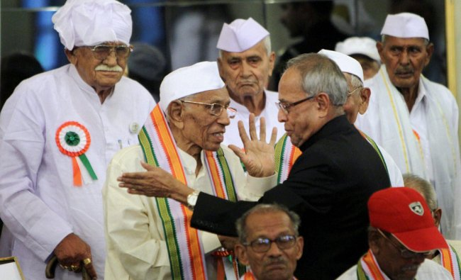 Pranab Mukherjee honouring freedom fighters on the occasion of the 70th anniversary...
