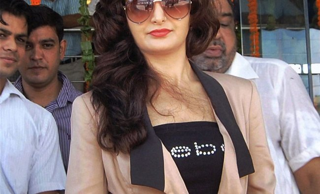 Bollywood actress Monica Bedi during an inauguration ceremony in Gurgaon...