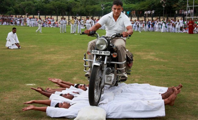 Haryana Police jawans perform during full dress rehearsal of Independence Day function in Gurgaon ..