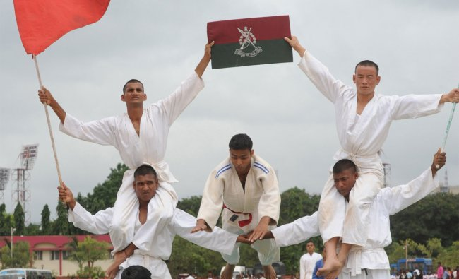 Jawans practicing Judo for Independence day celebrations at Manekshaw Parade Grounds in Bangalore...
