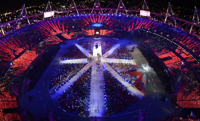 A view of the Olympic Satdium during the closing ceremony of the London 2012 Olympic Games at the...