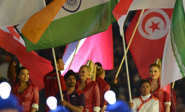 Indian flag-bearer Mary Kom at the Olympic Stadium during the closing ceremony of 2012 Olympic...