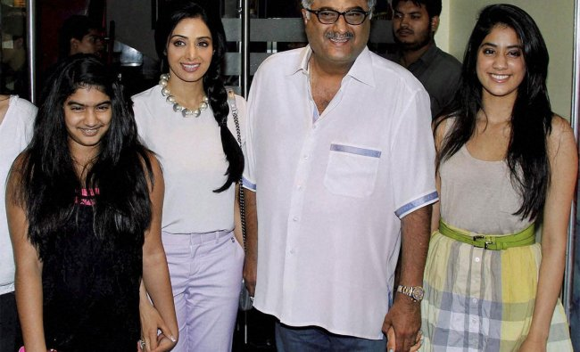 Boney Kapoor and his wife actor Sridevi along with their daughters