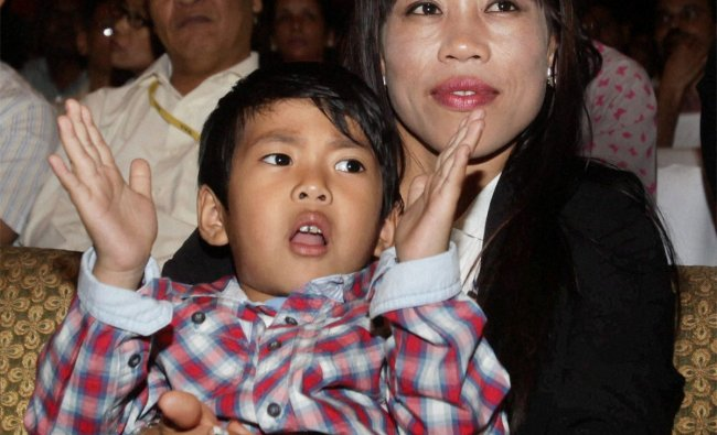 London Olympics bronze medalist woman boxer MC Mary Kom with her son