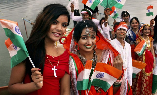 Students of a fashion institute celebrate Independence Day in Ajmer on Tuesday