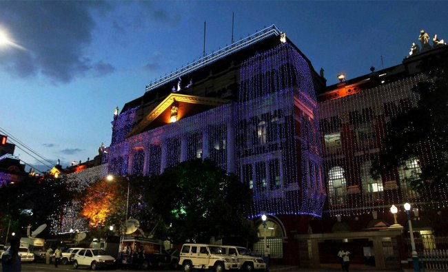West Bengal\'s Secratariat Building decoreted with lights on the eve of Independence Day...