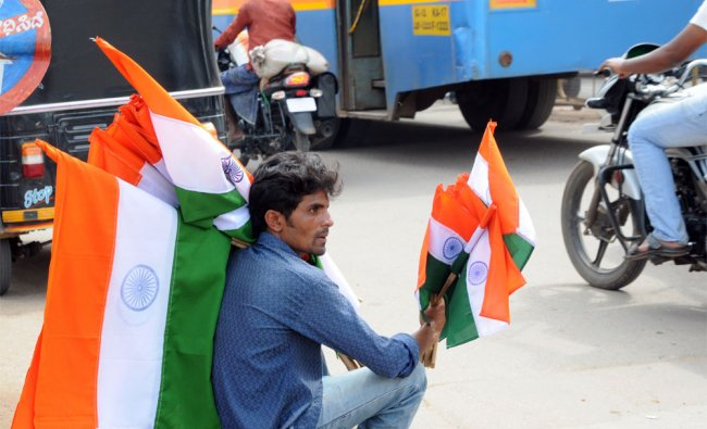 A person was seen selling the National Flag