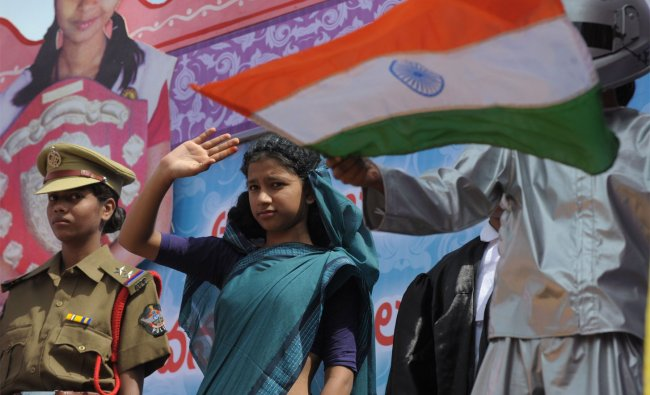 Students participate in India\'s Independence Day celebrations in Secunderabad