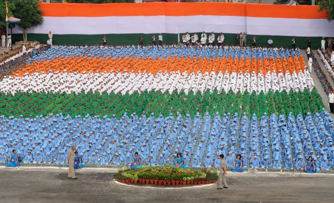 School-children participate in India\'s Independence Day celebrations at the Red Fort