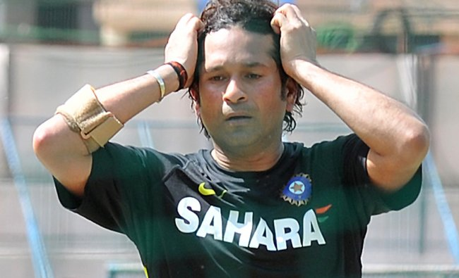 Sachin Tendulkar during his practice session at NCA in Bangalore