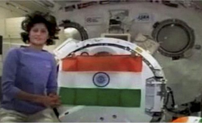 Sunita Williams displays the Tricolour on board the International Space Station ...