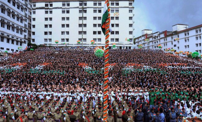 Students celebrating the 66th Independence Day in Mangalore...