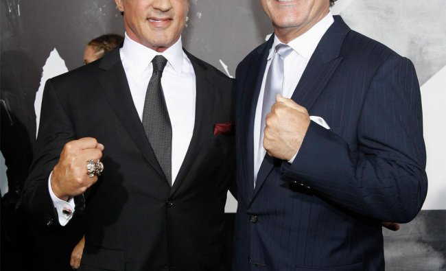 Sylvester Stallone poses with his brother Frank at the premiere of \'The Expendables 2\'