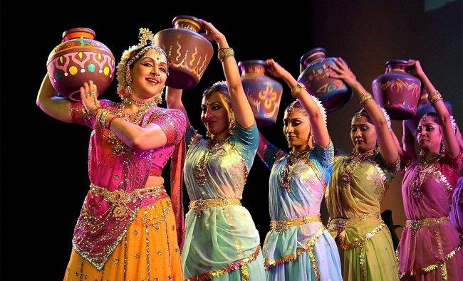 Bollywood actress Hema Malini performs at Birla auditorium in Jaipur...