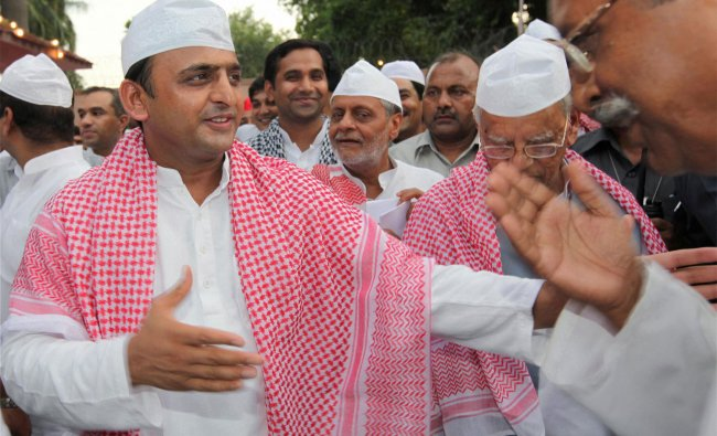Uttar Pradesh Chief Minister Akhilesh Yadav during an Iftar party at his residence in Lucknow ...