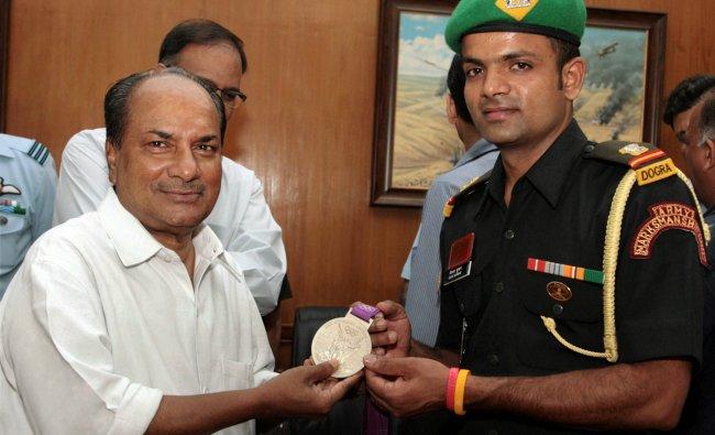 Defence Minister A. K. Antony after felicitating London Olympics Silver Medallist Sub. Major...
