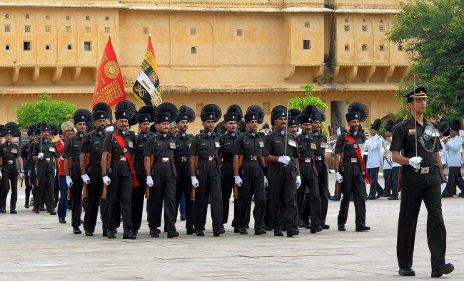The presentation of Nishan (symbol) in progress at Amber Fort near Jaipur on Saturday. The Nishan...