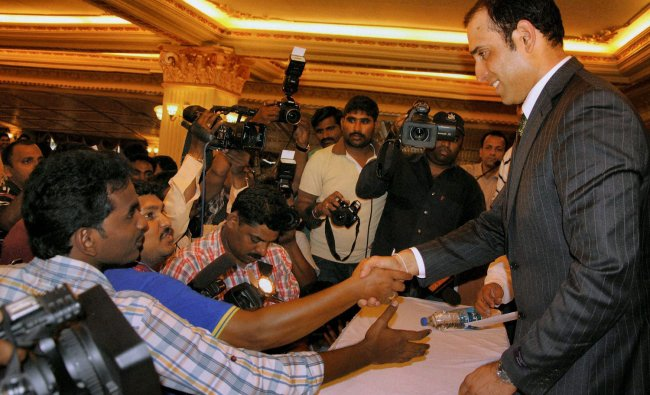 Cricketer VVS Laxman after announcing his retirement from international cricket in Hyderabad on...