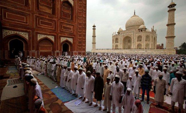 Muslims offer Eid al-Fitr prayer at the famous Taj Mahal in Agra