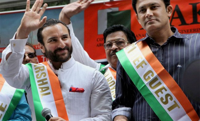 Bollywood Actor Saif Ali Khan and former cricketer Anil Kumle during 32nd India Day Parade....