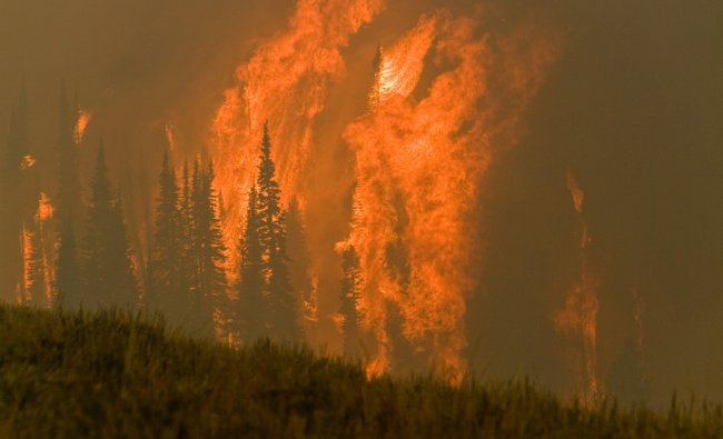 The Trinity Ridge Fire burns in Boise National Forest near Featherville, Idaho