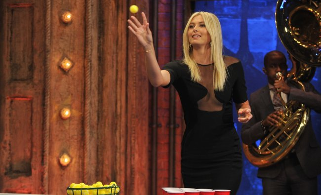 Maria Sharapova plays a game of \'Root Beer Pong\' with Jimmy Fallon during a taping of \'Late Night...