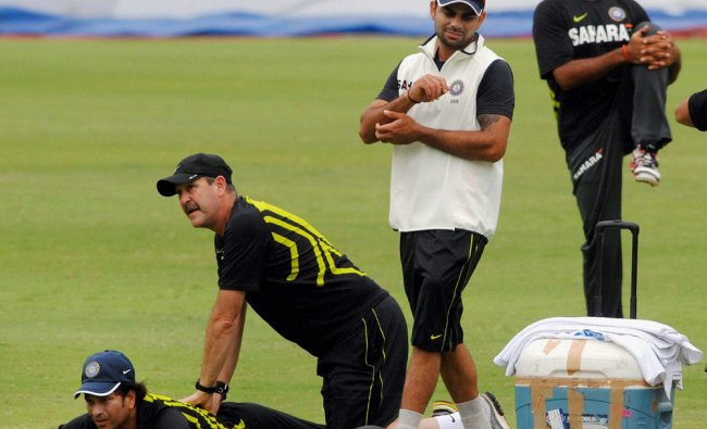 Master blaster Sachin Tendulkar is attended by the physio...