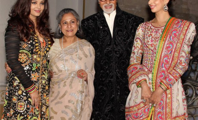 Bollywood actor Amitabh Bachchan along with wife Jaya, daughter Shweta and daughter-in-law Aishwarya
